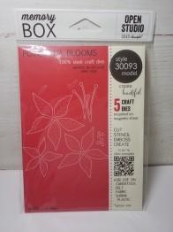 Memory box poinsettia blooms -