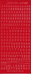 Röd Stickers alfabet. Många bokstäver av varje på varje ark. Arket mäter 23 x 10 cm -