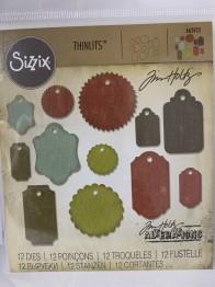 Tim Holtz Sizzix Thinlits Dies 12/Pkg - Gift Tags -