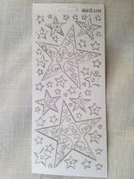 Stickers 10x23 snöflingor silver -