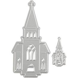 Skärschablon, stl. 46x91+18x35 mm, , kyrkor, 1st. -