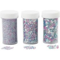 Miniglaskulor, stl. 0,6-0,8+1,5-2+3 mm, mixade färger, 3burkar