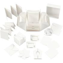 Exploding Box, stl. 7x7x7,5+12x12x12 cm, råvit, 1st.