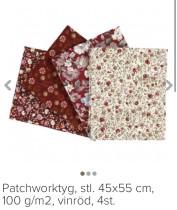 Patchwork tyg set med 4 mönstrade tygbitar