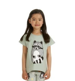 T-shirt Raccoon Aqua Gray