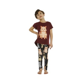 Leggings Fat Cats + Pug AOP Black