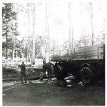 Tvättning av Scania 75 vid garaget
