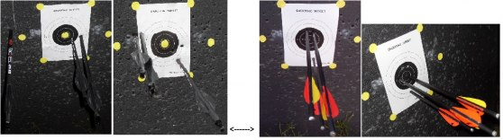 Till vänster syns 2 träffbilder av TAC15 och till höger det klart bättre resultatet av Ultimate-Survival.