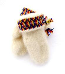Handstickade varma och slitstarka vantar av lovikkagarn. 100 % ull.